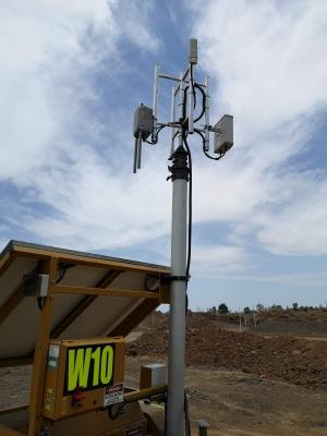 4 sector mount, pneumatic mast, mining communications