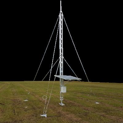 Aluminium guyed lattice tower 180mm faced ground mounted