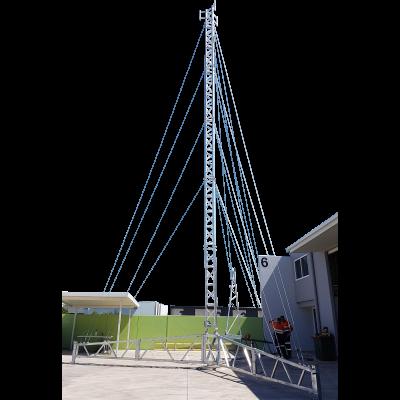 18 metre aluminium tripod tower with three sector headframe