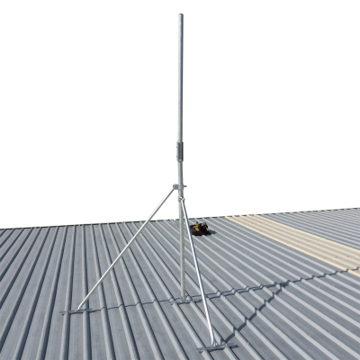 Hinged galvanised pole serviceable roof mast
