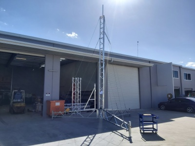 aluminium tripod tower, defence, radar, communications, antenna,