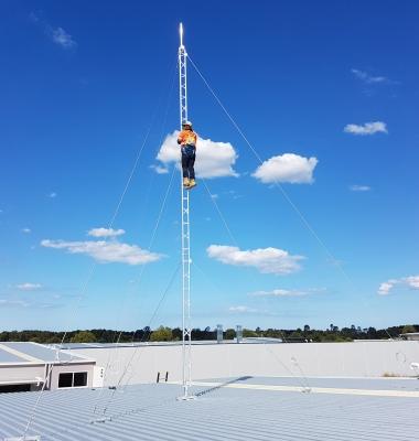 Climbing a 9.3m AL220 aluminium roof tower