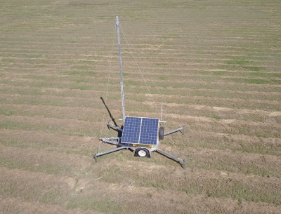 Communications solar trailer in the field
