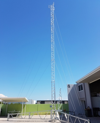 Full height view of AL500 18m tripod tower