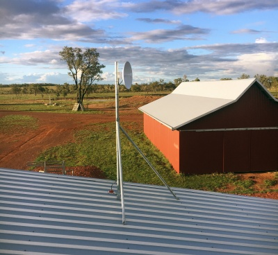 Galvanised steel roof mast in outback Australia