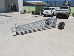 Portable tripod base, aluminium lattice tower, QLD, Australia.