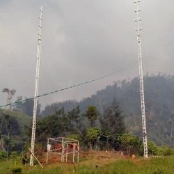 AL340 guyed aluminium lattice tower installed in Papua New Guinea