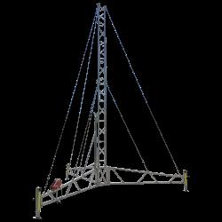guyed lattice tower on tripod base