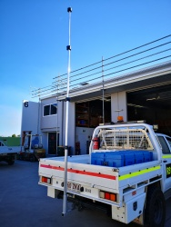 telescopic mast, towball mount. communications, antennas. vehicle